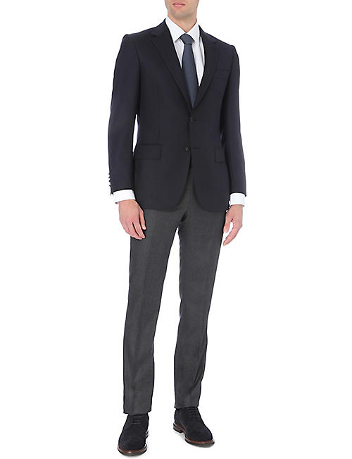 GIEVES & HAWKES Birdseye-pattern slim-fit tapered wool trousers
