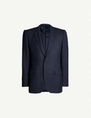 GIEVES & HAWKES Windowpane-check regular-fit wool jacket