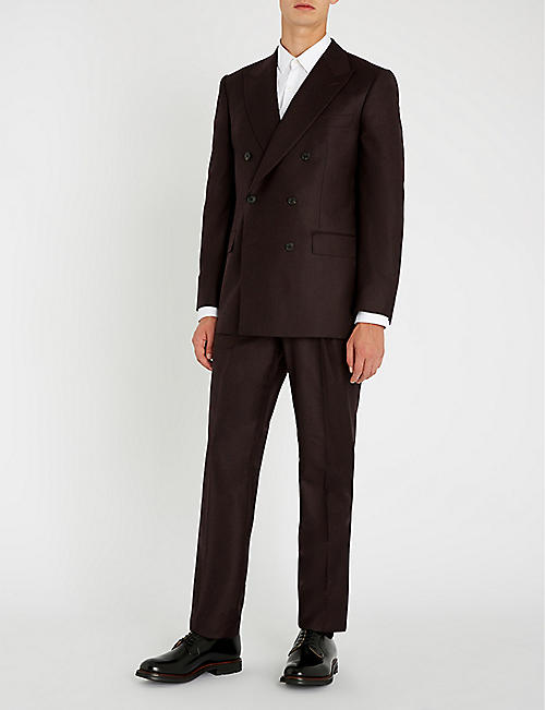 GIEVES & HAWKES Double-breasted regular-fit brushed wool suit
