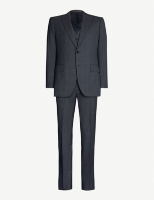 GIEVES & HAWKES Sharkskin-patterned regular-fit wool suit
