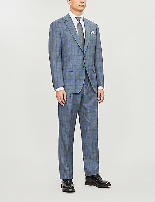 GIEVES & HAWKES Checked regular-fit wool, silk and linen-blend suit