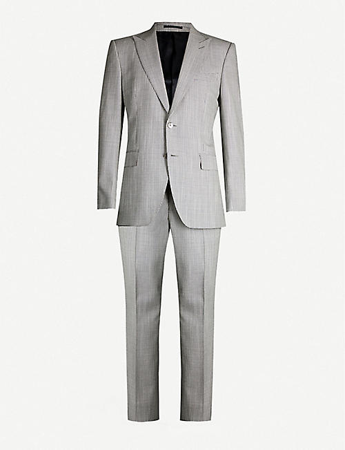 GIEVES & HAWKES Regular-fit puppy-tooth wool-silk blend suit