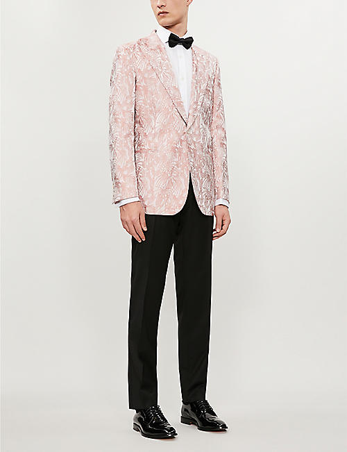 GIEVES & HAWKES Floral-pattern regular-fit silk-jacquard blazer