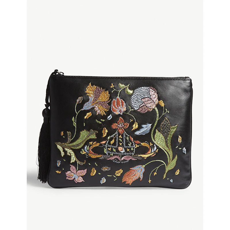 Dolly Leather Clutch, Black