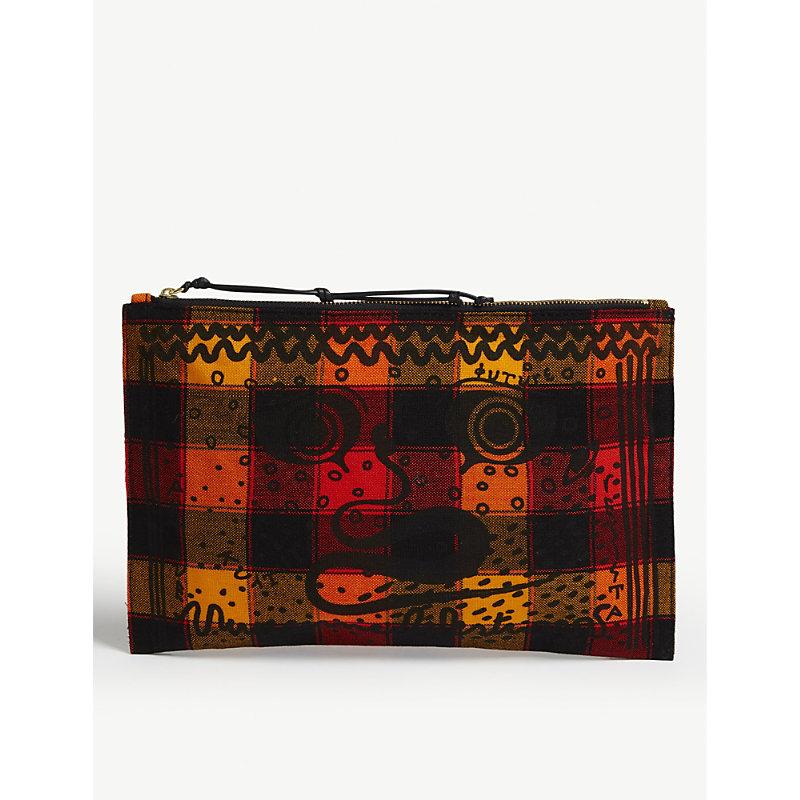 Maasai Suka Greek Eyes Checked Canvas Pouch, Orange