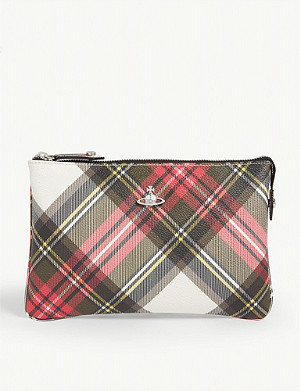 VIVIENNE WESTWOOD New Exhibition tartan derby zip purse