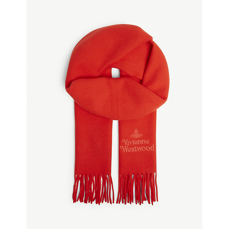VIVIENNE WESTWOOD Logo Embroidered Wool Scarf in Red