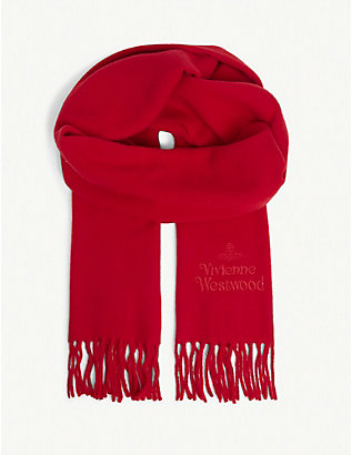 VIVIENNE WESTWOOD: Embroidered logo scarf
