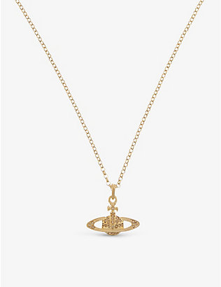 VIVIENNE WESTWOOD JEWELLERY: Mini Bas Relief diamante orb necklace