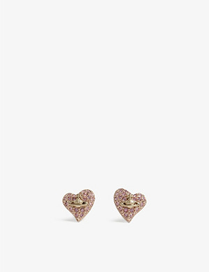 VIVIENNE WESTWOOD JEWELLERY Tiny swarovski heart stud earrings