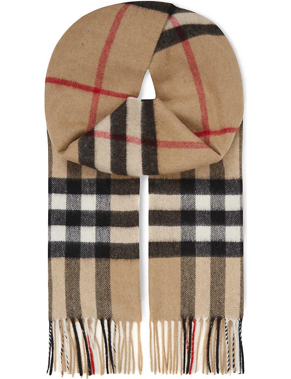 Burberry Giant Check Cashmere Scarf Selfridges Com