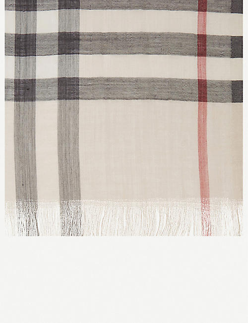 BURBERRY Giant check wool-silk scarf