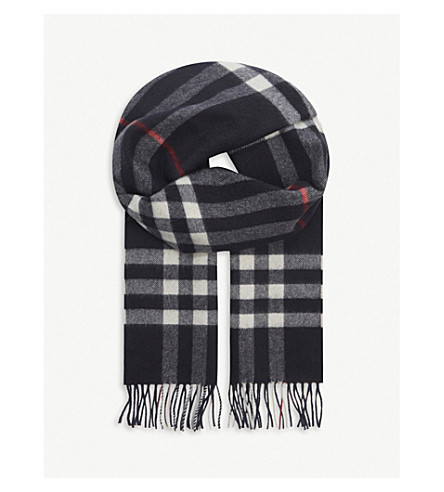 Burberry Men's Cashmere Giant Check Icon Scarf In Navy