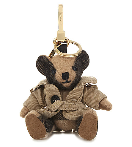 Thomas Bear Check Cashmere Charm With Coat 12Cm in Camel