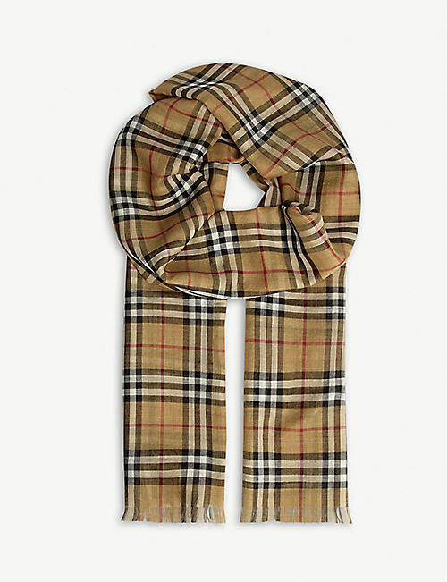 BURBERRY: Vintage check silk-wool gauze scarf