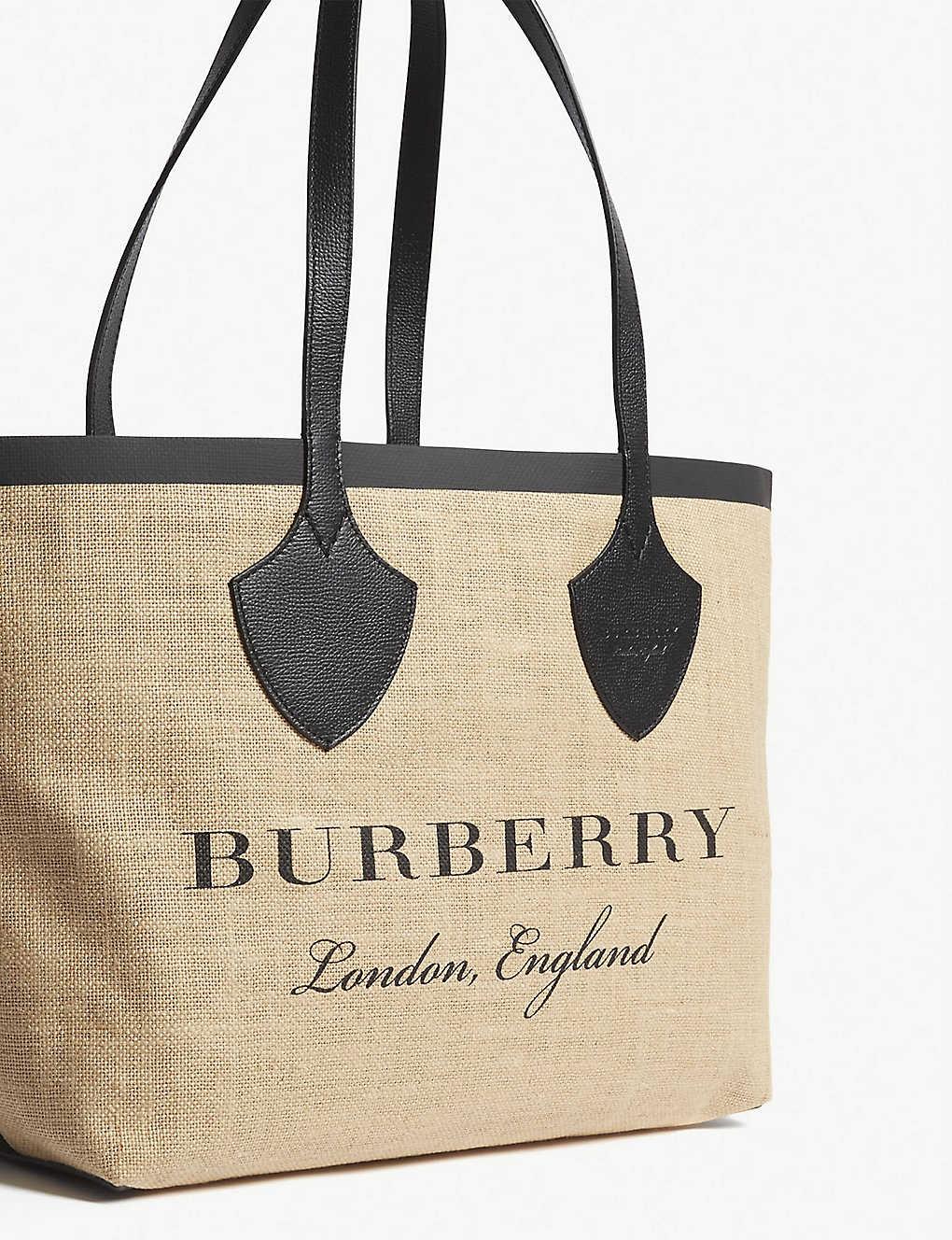 35527e73158e BURBERRY - Logo canvas and leather tote bag