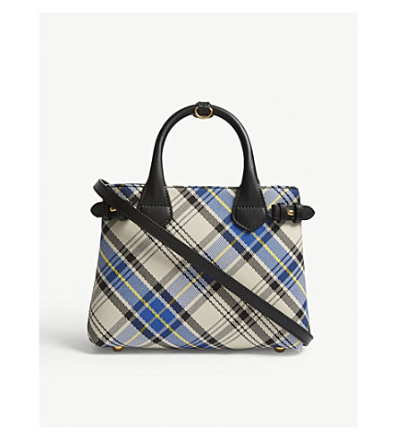 ... BURBERRY Banner small tartan and leather tote (Chalk+white. PreviousNext 79a9ec7576708