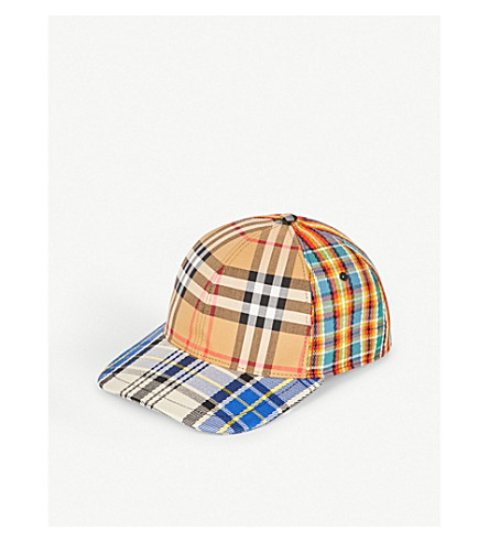 BURBERRY - Patchwork checked cotton and leather cap  be5171c161f
