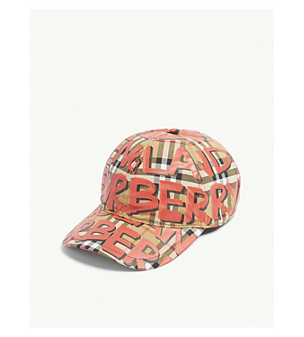 b38d5ff9c59a5 BURBERRY Graffiti print house check baseball cap (Red
