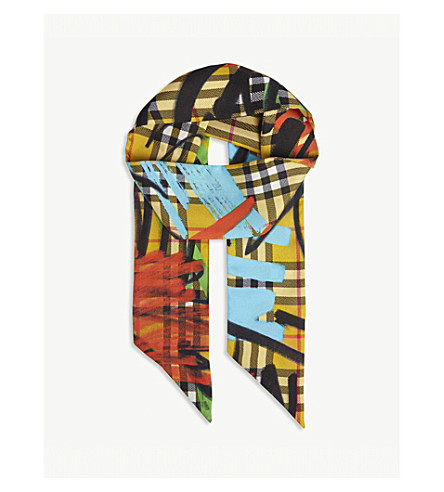 ... BURBERRY Graffiti print skinny silk scarf (Amber+yellow. PreviousNext 16c707a6c17d2