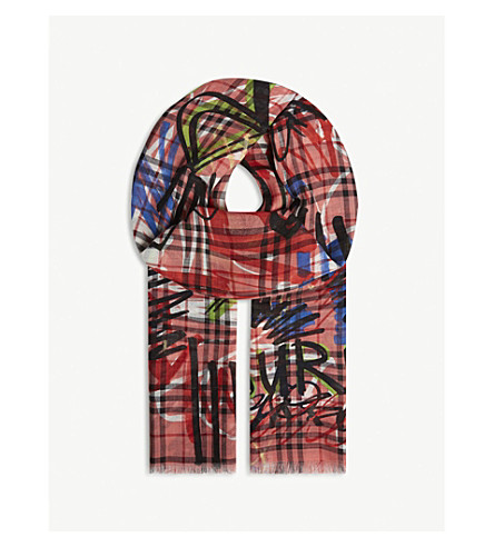 BURBERRY - Graffiti print Vintage check wool and silk scarf ... 3e40d0f655ca4