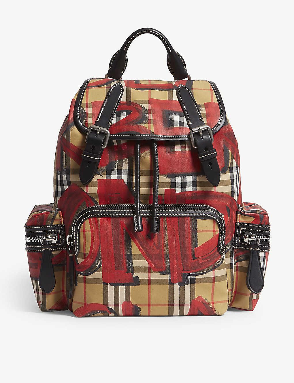 1e14d24148e72 BURBERRY - Graffiti-print vintage check canvas backpack
