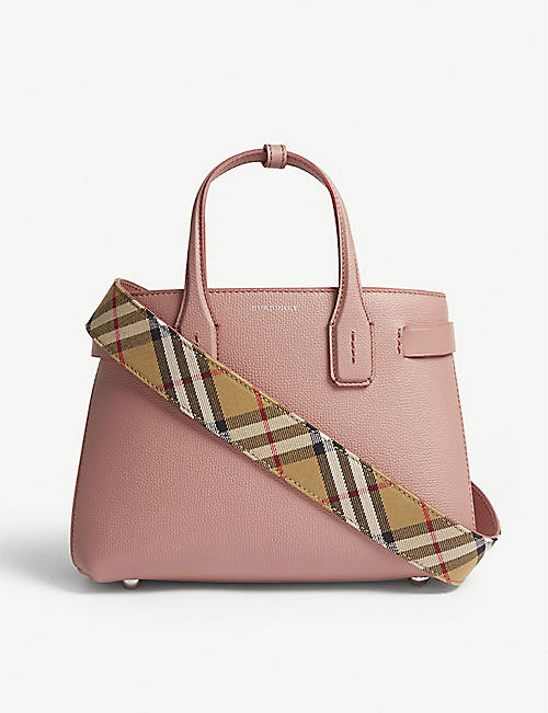 b22855bdff1c BURBERRY New Banner small grained leather tote