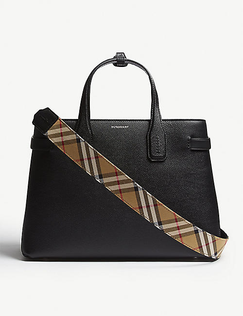 f65564a27a4d BURBERRY New Banner medium grained leather tote