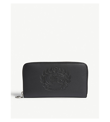 c1f8420bddd BURBERRY Embossed crest leather zipper-around wallet (Black