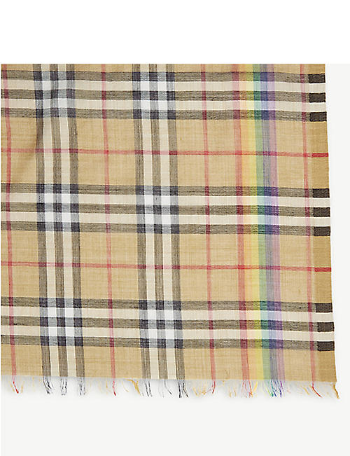 BURBERRY Rainbow Vintage check wool and silk scarf