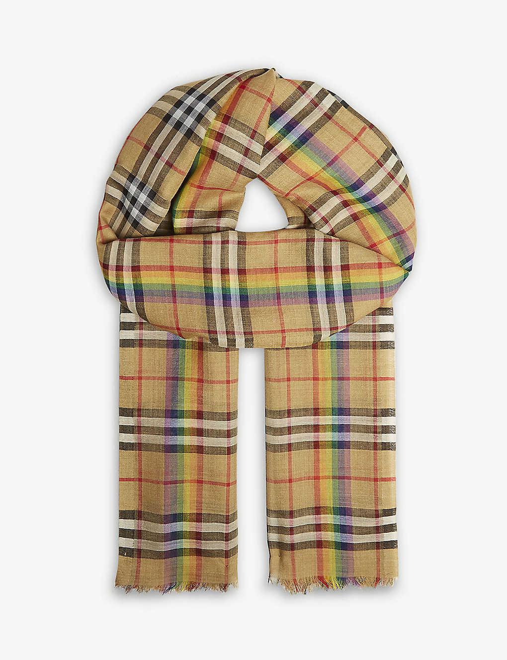 43f19272 BURBERRY - Rainbow Vintage check wool and silk scarf | Selfridges.com