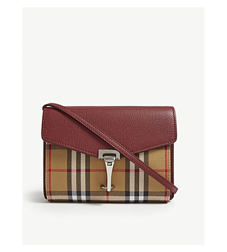 ... BURBERRY Macken Vintage check and leather mini crossbody bag (Crimson.  PreviousNext 94f1dc5a0a9c3