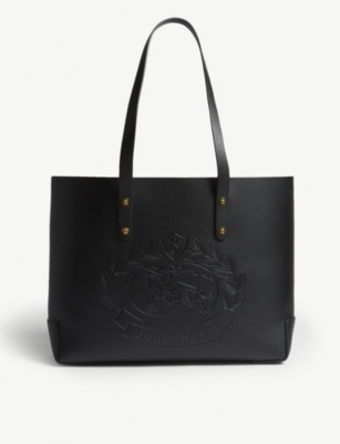 BURBERRY Leather embossed crest tote