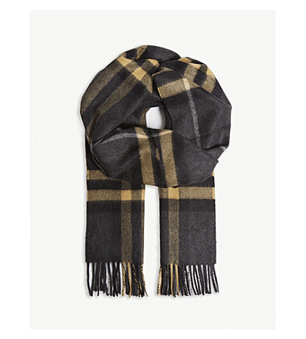 Burberry Men's Giant Check Cashmere Scarf In Dark Pewter Grey