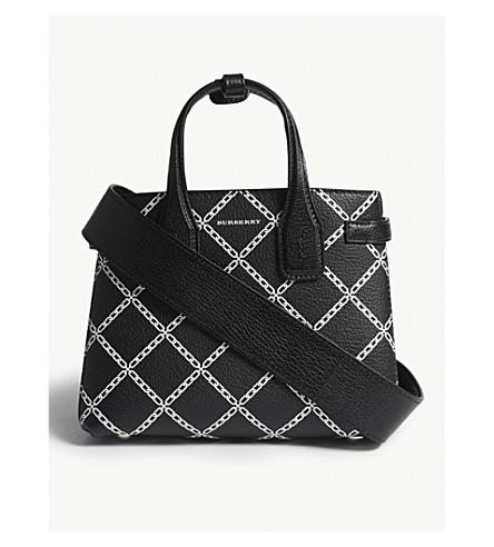ad5b0f848d78 BURBERRY Baby Banner link print leather tote (Black