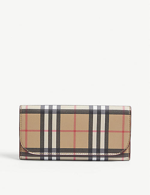 a0deb2a12cdc BURBERRY Heron leather check continental wallet