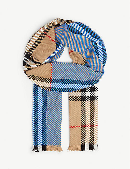 48af76b590 BURBERRY Block panel check wool-cashmere scarf