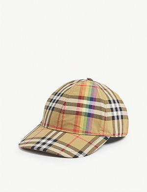 BURBERRY Rainbow Vintage check cotton cap ddac6438c009
