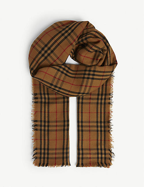 b3c1cd04cfa2 BURBERRY Horseferry embroidery check cashmere scarf