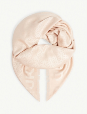 BURBERRY Monogram silk and wool-blend scarf