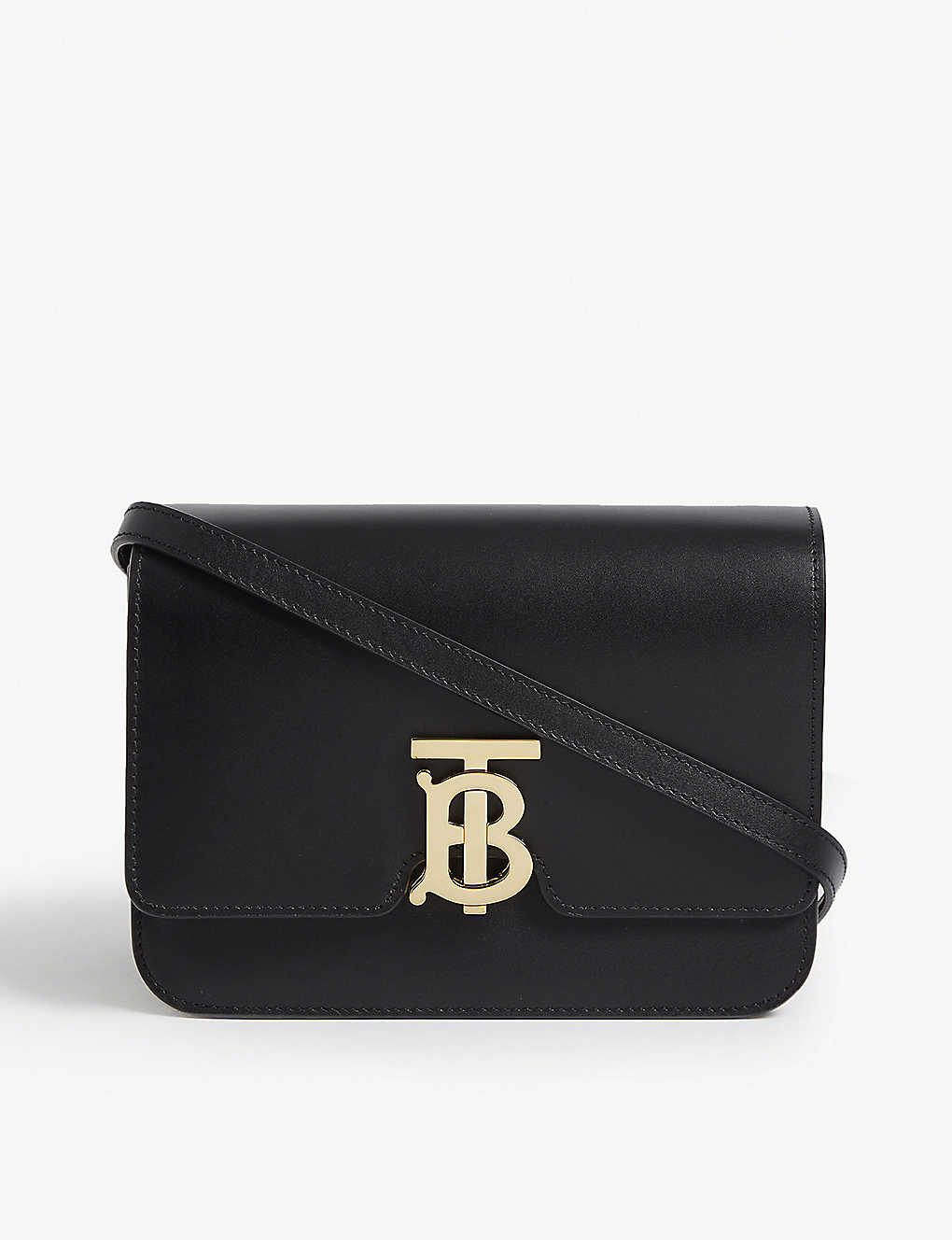 BURBERRY: Logo leather shoulder bag