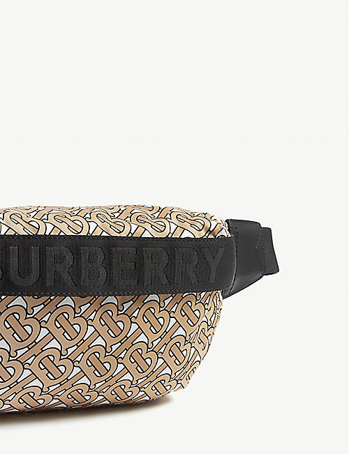 BURBERRY Monogram-print nylon and leather belt bag