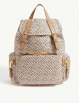 BURBERRY Monogram-print nylon and leather backpack
