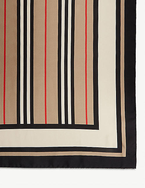 BURBERRY Triple logo-printed silk scarf