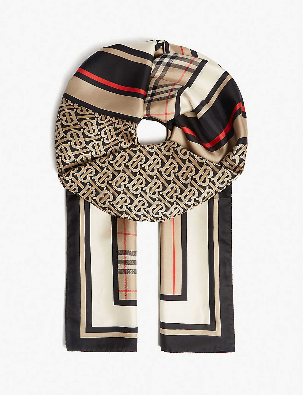 BURBERRY: Triple logo-printed silk scarf