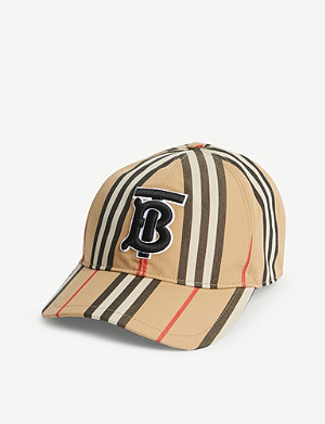 BURBERRY Icon Stripe logo-embroidered cotton baseball cap
