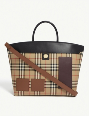 BURBERRY Check top handle tote