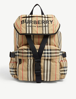 BURBERRY Logo print Icon Stripe nylon backpack