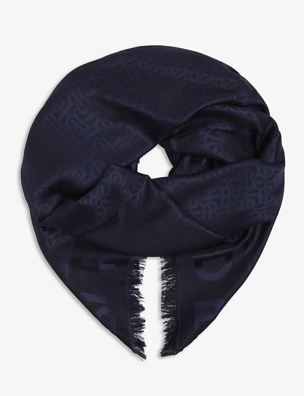 BURBERRY: Jacquard logo silk and wool-blend scarf