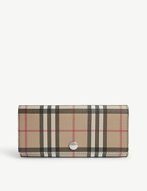 BURBERRY Vintage check and leather flap wallet